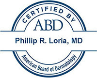 Badge showing Philip R. Loria, MD is certified by the American Board of Dermatology
